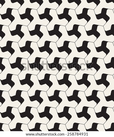 Vector seamless pattern. Modern geometric grid texture. Repeating abstract background with twisted triangular smooth elements. - stock vector