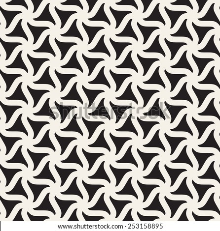 Vector seamless pattern. Modern geometric monochrome  texture. Repeating abstract background with twisted triangular elements - stock vector