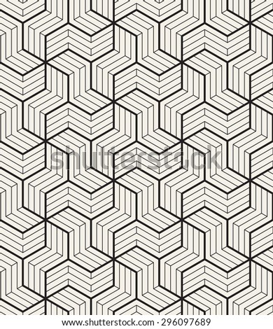 Vector seamless pattern. Modern geometric texture. Repeating abstract background. Polygonal linear grid from striped elements. - stock vector