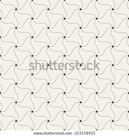Vector seamless pattern. Modern geometric texture. Repeating abstract background with twisted triangular elements. Filled small black circles in nodes - stock vector