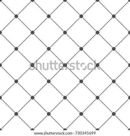 vector seamless pattern, modern style texture, repeat geometric tile black dotted rhombus on white background