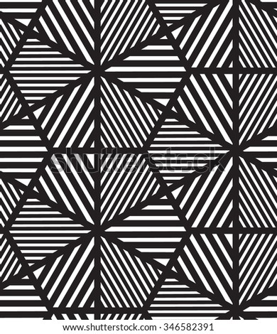 Vector seamless pattern. Modern stylish line, hexagon geometric background. Texture with rhombus from striped