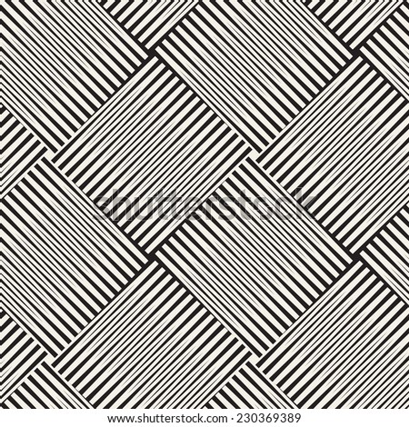 Vector seamless pattern. Modern stylish texture. Geometric ornament with striped diagonal locades squares - stock vector