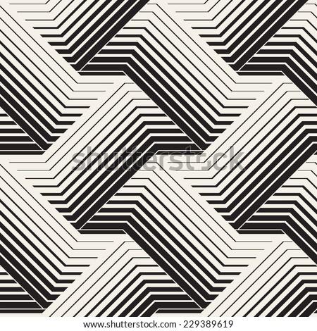 Vector seamless pattern. Modern stylish texture. Geometric striped ornament. Monochrome braids - stock vector