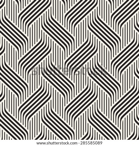 Vector seamless pattern. Modern stylish texture. Geometric striped ornament. Monochrome geometric braids.
