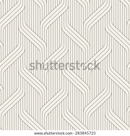 Vector seamless pattern. Modern stylish texture. Geometric striped ornament. Monochrome linear braids. Contemporary graphic design. - stock vector