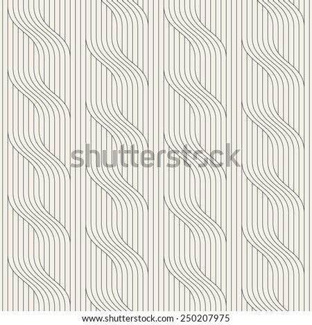 Vector seamless pattern. Modern stylish texture. Geometric striped ornament. Monochrome linear waves - stock vector