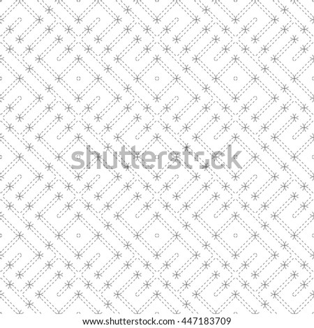 Vector seamless pattern. Modern stylish texture. Regularly repeating geometric grid with dashed thin zigzag lines, rhombuses, diamonds. Abstract linear background. Graphical design element