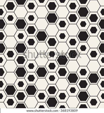 Vector seamless pattern. Modern stylish texture. Repeating geometric background. Fine linear hexagonal grid with random fillings. - stock vector
