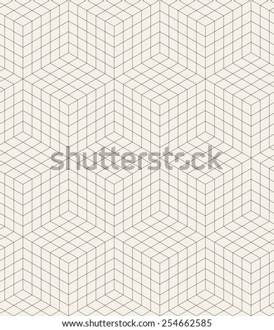 Vector seamless pattern. Modern stylish texture. Repeating geometric background. Linear grid with isometric cubes - stock vector