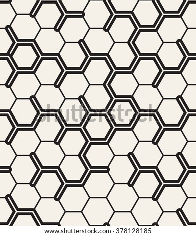 Vector seamless pattern. Modern stylish texture. Repeating geometric background with hexagons. - stock vector