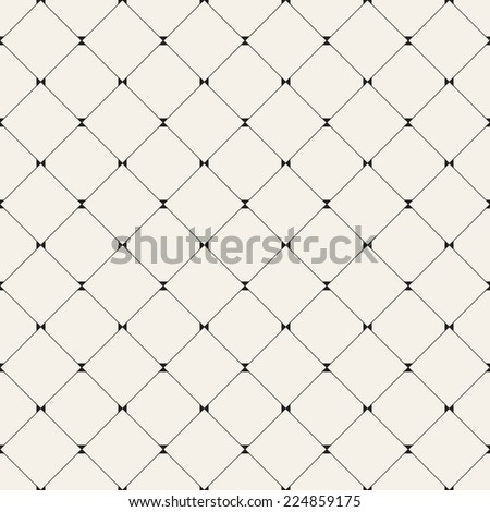 Vector seamless pattern. Modern stylish texture. Repeating geometric background with linear rhombuses and triangles in nodes - stock vector