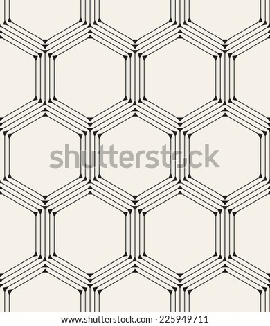 Vector seamless pattern. Modern stylish texture. Repeating geometric background with linear hexagons and triangles in nodes - stock vector