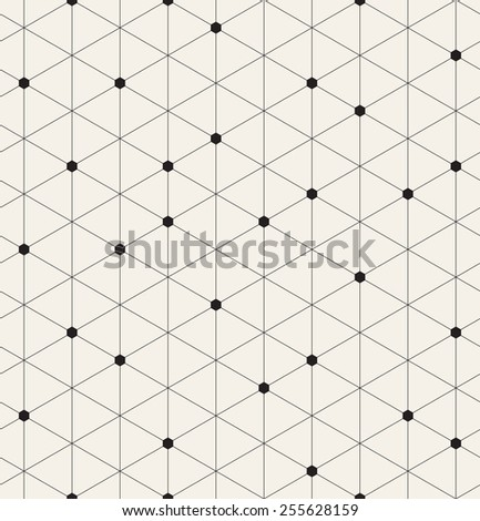 Vector seamless pattern. Modern stylish texture. Repeating geometric background with linear hexagons. Filled small hexagons in some nodes - stock vector