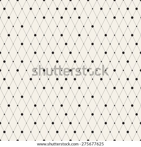 Vector seamless pattern. Modern stylish texture. Repeating geometric background with linear rhombuses and circles variously sized in nodes