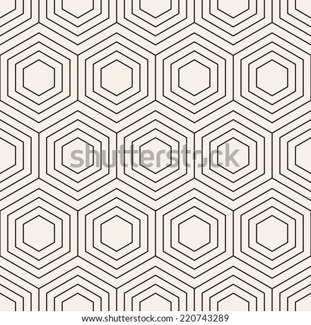 Vector seamless pattern. Modern stylish texture. Repeating geometric background with linear hexagons - stock vector