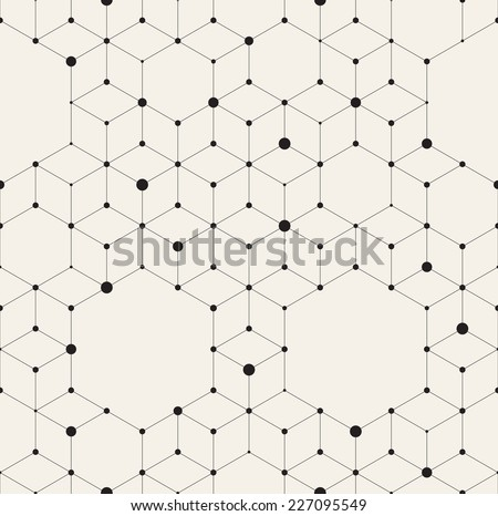 Vector seamless pattern. Modern stylish texture. Repeating geometric background with rhombus and nodes from rhombuses and hexagons with circles variously sized in nodes - stock vector