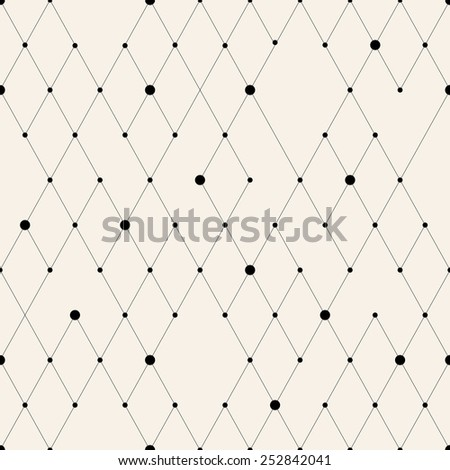Vector seamless pattern. Modern stylish texture. Repeating geometric background with rhombus and nodes from rhombuses with circles variously sized in nodes. eps - stock vector