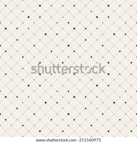 Vector seamless pattern. Modern stylish texture. Repeating geometric background with rotated squares. Variously sized circles in nodes