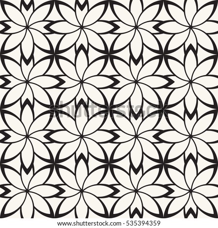 Vector seamless pattern. Modern stylish texture. Repeating geometric flowers.