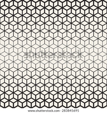Vector seamless pattern. Modern stylish texture. Repeating geometric tiles. Contemporary monochrome graphic design. Rhombuses of different size forms stylish grid. Thickness decreases gradually. - stock vector