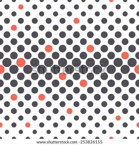 Vector seamless pattern. Modern stylish texture. Repeating geometric tiles from circles. Geometric elements with different size which changes towards the center. Randomly disposed red accents - stock vector