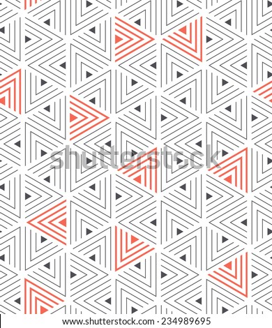 Vector seamless pattern. Modern stylish texture. Repeating geometric tiles from striped triangles - stock vector
