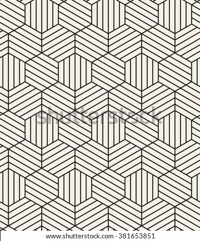 Vector seamless pattern. Modern stylish texture. Repeating geometric tiles. Linear grid with striped hexagons. Hexagonal geometric background. Contemporary graphic design. - stock vector