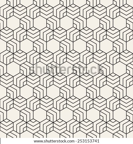 Vector seamless pattern. Modern stylish texture. Repeating geometric tiles. Linear hexagonal grid. Monochrome graphic design - stock vector