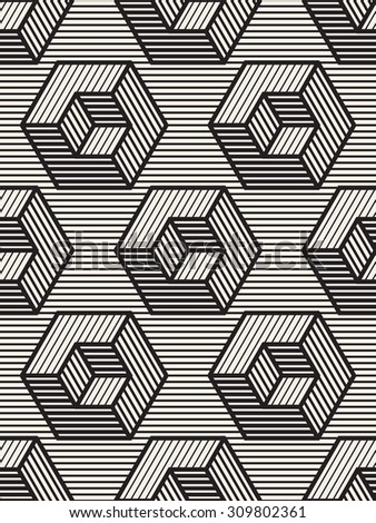 Vector seamless pattern. Modern stylish texture. Repeating geometric tiles. Linear monochrome cubes with volume effect. Hatched rectangular faces. - stock vector