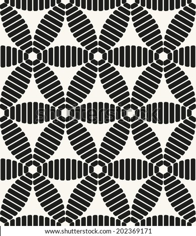 Vector seamless pattern. Modern stylish texture. Repeating geometric tiles. Striped rhombuses forming a hexagon