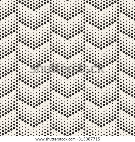 Vector seamless pattern. Modern stylish texture. Repeating geometric tiles with dotted chevrons. Trendy hipster background. Small circles form minimalistic ornament. - stock vector