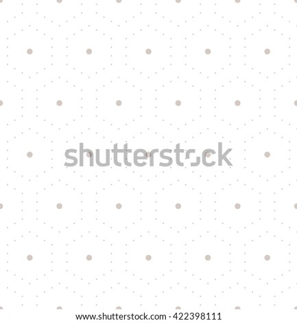 Vector seamless pattern. Modern stylish texture. Repeating geometric tiles with dotted hexagons. Regular hipster background. Small circles form hexagonal minimalistic ornament. - stock vector