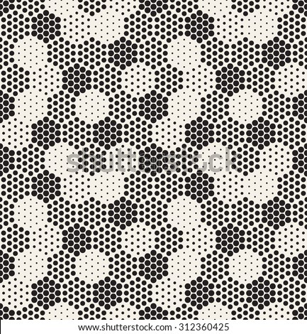 Vector seamless pattern. Modern stylish texture. Repeating geometric tiles with filled dotted hexagons. Regular hipster background. Small circles form hexagonal minimalistic ornament. - stock vector