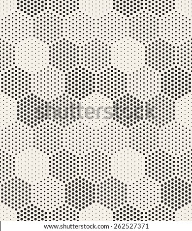 Vector seamless pattern. Modern stylish texture. Repeating geometric tiles with filled with dots hexagons. Regular hipster background. Small circles form hexagonal minimalistic ornament. - stock vector