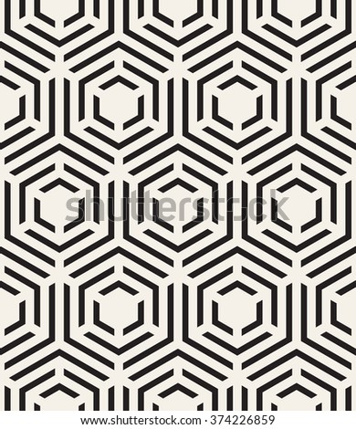 Vector seamless pattern. Modern stylish texture. Repeating geometric tiles with hexagons. Chevron elements form stylish tileable print. - stock vector