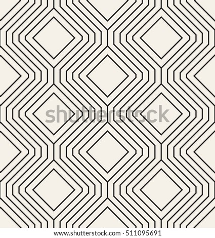 Vector seamless pattern. Modern stylish texture. Repeating geometric tiles with linear squares or rhombuses.