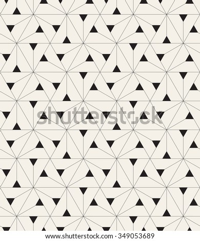 Vector seamless pattern. Modern stylish texture. Repeating geometric tiles with linear triangles and filled triangles in nodes - stock vector