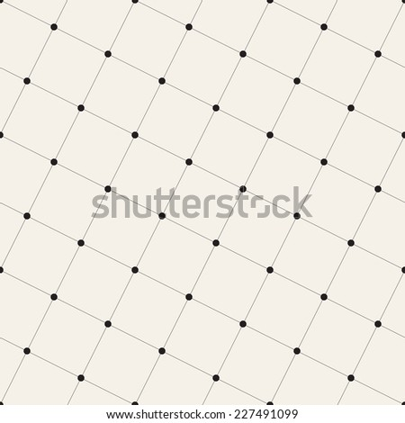 Vector seamless pattern. Modern stylish texture. Repeating geometric tiles with rotated linear squares and circles in intersections - stock vector
