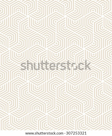 Vector seamless pattern. Modern stylish texture. Repeating geometric tiles with striped hexagonal elements. - stock vector