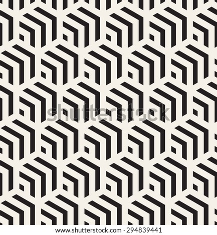 Vector seamless pattern. Modern stylish texture. Repeating geometric tiles with striped hexagons. Hexagonal geometric background. Contemporary graphic design. - stock vector