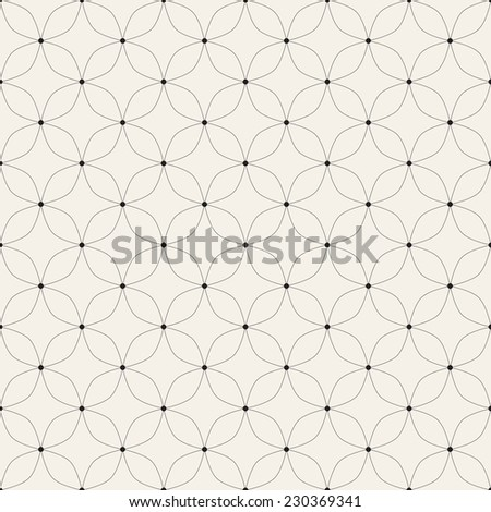 Vector seamless pattern. Modern stylish texture. Repeating geometric tiles with thin linear grid and circles in nodes - stock vector