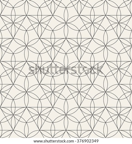 Vector seamless pattern. Modern stylish texture. Repeating geometric tiles with thin linear grid. - stock vector