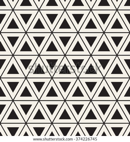 Vector seamless pattern. Modern stylish texture. Repeating geometric tiles with triangles. Hipster monochrome print. Trendy graphic design. - stock vector