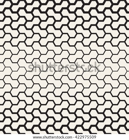 Vector seamless pattern. Modern stylish texture. Reticulate geometric tiles with hexagonal elements. Thickness decreases gradually. - stock vector