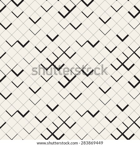 Vector seamless pattern. Modern stylish texture with zigzag. Repeating geometric background with square grid and chevron. - stock vector