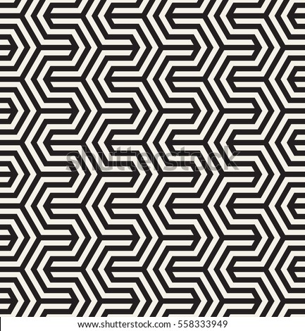 Vector seamless pattern. Modern zigzag texture. Repeating geometric background with striped hexagonal zigzag.