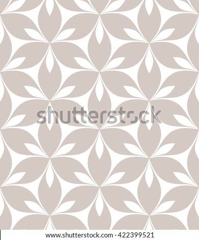 Vector seamless pattern. Monochrome graphic design. Decorative geometric pastel print with leaves. Regular floral background with elegant petals. Modern stylish ornament. - stock vector