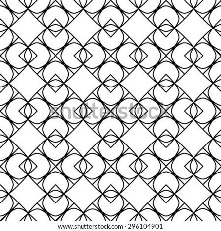 Vector seamless pattern. Monochrome ornament, geometric stylish background. - stock vector