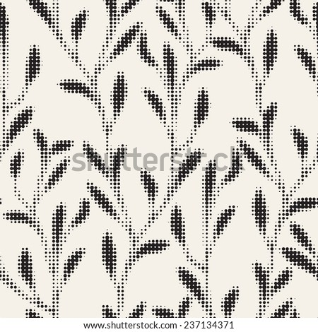 Vector seamless pattern. Monochrome stylish background. Halftone repeating texture. Floral print from small dots - stock vector